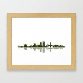 Jacksonville Florida Skyline BW Framed Art Print