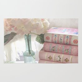 Shabby Chic Cottage Pink Aqua Hydrangea Books Print Home Decor Rug