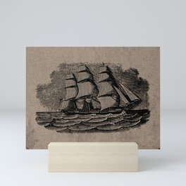 Vintage Sailing Ship - Antique Book Plate Etching - Retro Style Brown and Black Mini Art Print