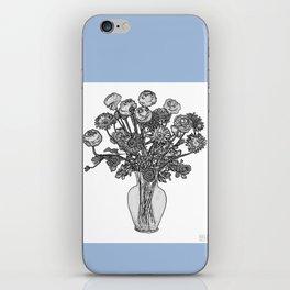 Spring Flowers in Vase on Robin's Egg Blue Background iPhone Skin