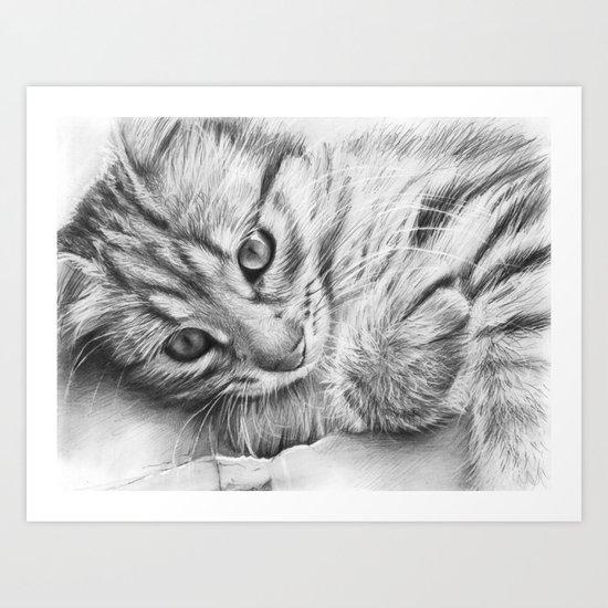 Cat Kitten Dawing Art Print