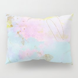 Light Blue, Pink,Yellow and Gold Brush Stroke Abstract Pillow Sham