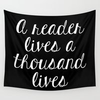 fangirl Wall Tapestries featuring A Reader Lives a Thousand Lives - Inverted by bookwormboutique