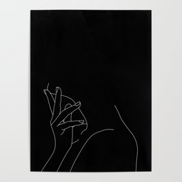 Hand on neck line drawing - Josie Black Poster
