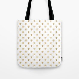Gold Metallic Faux Foil Photo-Effect Bees on White Tote Bag