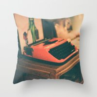 typewriter Throw Pillows featuring Typewriter by Cheryl Cha-Cyn