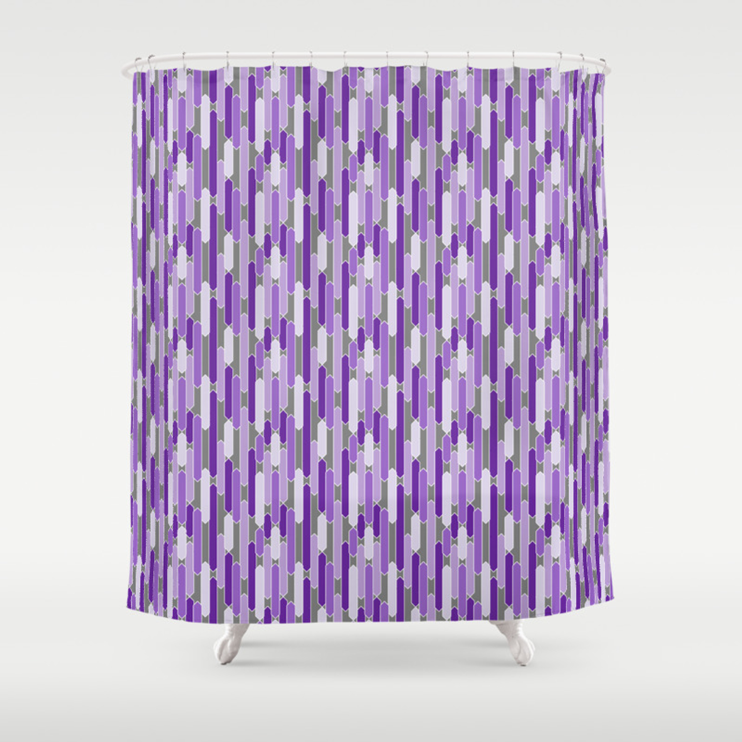 Modern Tabs In Purple And Lavender On Gray Shower Curtain By Fischerfinearts Society6