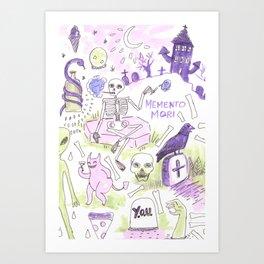 memento mori horror pattern Art Print