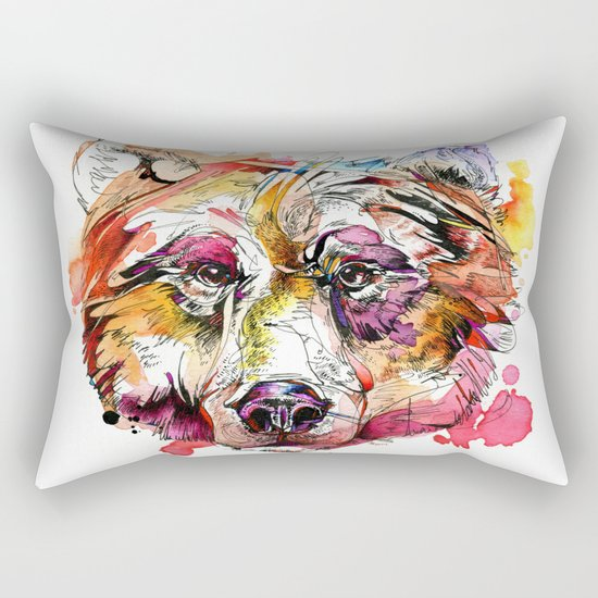 Vivid Grizzly Rectangular Pillow