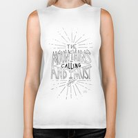 the mountains are calling Biker Tanks featuring The Mountains Are Calling by Sadie A. Design
