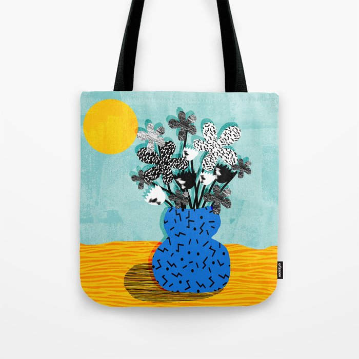 Fave - memphis throwback retro still life flower vase with floral bouquet abstract Tote Bag