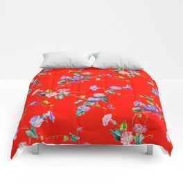 morning glories on red Comforters