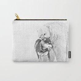 Eskimo dog and Polar bear pointillism illustration Carry-All Pouch