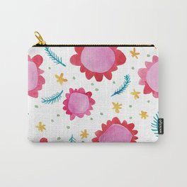 Painted Flowers red Carry-All Pouch