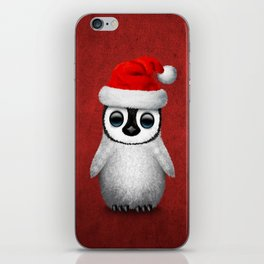 Baby Penguin Wearing a Santa Hat on Red iPhone Skin