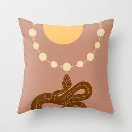 Snake And Sun - Mid-Century Minimalist Graphic Beige Throw Pillow