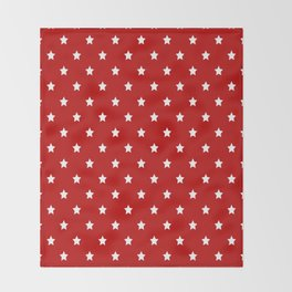 Red Background With White Stars Pattern Throw Blanket