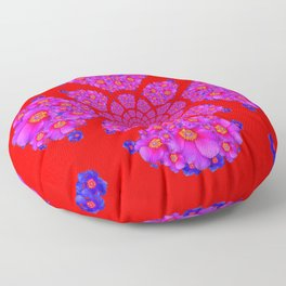 Colorful Purple-Red Fuchsia Flowers modern Art Design Abstract Floor Pillow
