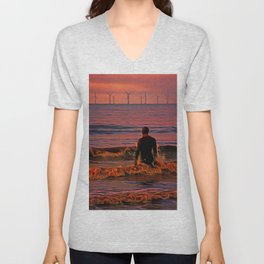 In the surf at Sunset Unisex V-Neck