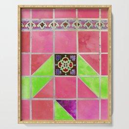 Fredericksburg Texas Vintage Ceramic Tile Pattern - Sweet Rose Pink Serving Tray
