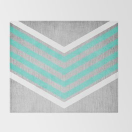 Teal and White Chevron on Silver Grey Wood Throw Blanket