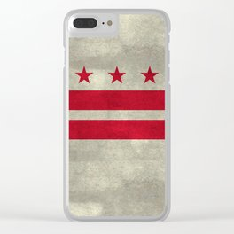 Washington D.C flag with worn stone marbled patina Clear iPhone Case