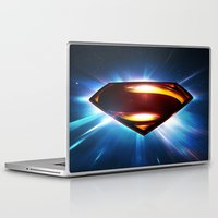 man of steel Laptop & iPad Skins featuring Man of Steel Logo by taylorwayne93