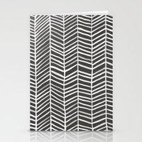 herringbone Stationery Cards featuring Herringbone – Black & White by Cat Coquillette