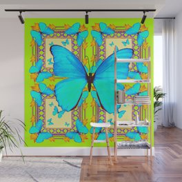 Turquoise Satin Butterflies On Lime & Cream Colors Wall Mural