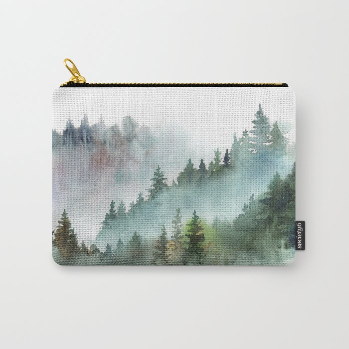 Watercolor Pine Forest Mountains in the Fog Tasche