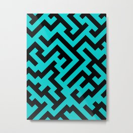 Black and Cyan Diagonal Labyrinth Metal Print