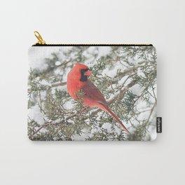 Cardinal on a Snowy Cedar Branch (v) Carry-All Pouch