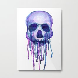Dripping Skull Metal Print