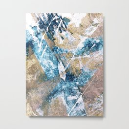 Anticipation [1]: a bright, colorful abstract piece in pink, rose gold, blue, and white Metal Print