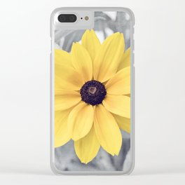 Yellow Grey Flower Photography, Yellow Gray Nature Floral Photography Clear iPhone Case