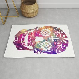 Sugar Skull 2 Watercolor Print Skull Illustration Wall Decor Home Decor Rug