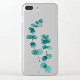 green eucalyptus watercolor Clear iPhone Case