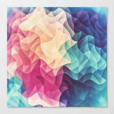 Geometry Triangle Wave Multicolor Mosaic Pattern - (HDR - Low Poly Art) - FULL Canvas Print