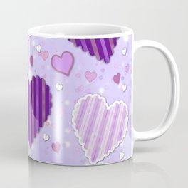 Purple Patchwork Hearts Coffee Mug