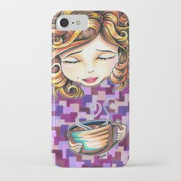 Curls and Coffee Swirls iPhone Case