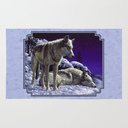 Night Watch Wolves in Snow Rug