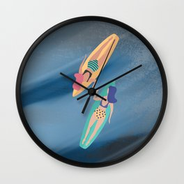 Surf Sisters - Muted Ocean Color Girl Power Wall Clock