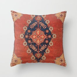 Southwest Tuscan Shapes II // 18th Century Aged Dark Blue Redish Yellow Colorful Ornate Rug Pattern Throw Pillow