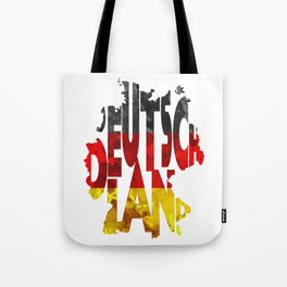 Deutschland Typographic World Map / Germany Typography Flag Map Art Tote Bag
