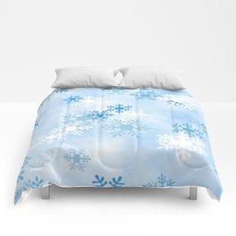 Blue White Winter Snowflakes Design Comforters