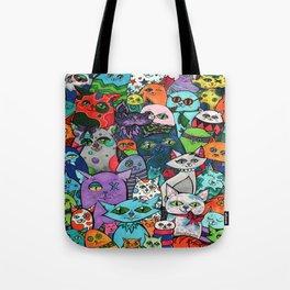 Crazy Cats Color  Tote Bag