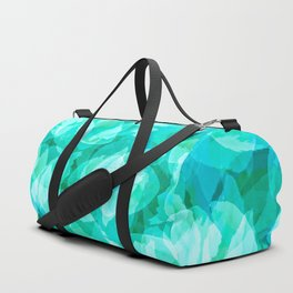 Aqua Blue Turquoise Water Pool Flower Pattern, Delicate Floral Blossom Reflection Design Duffle Bag