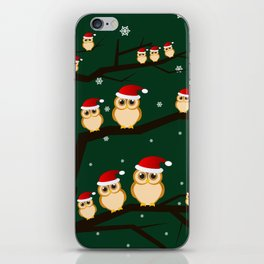christmas owls iPhone Skin