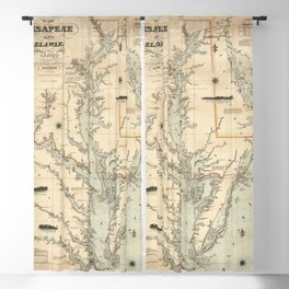 1862 Vintage Chart of the Chesapeake And Delaware Bays Blackout Curtain
