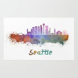 Seattle V2 skyline in watercolor Rug